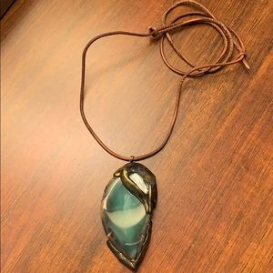 Custom leather necklace w/natural stone pendant